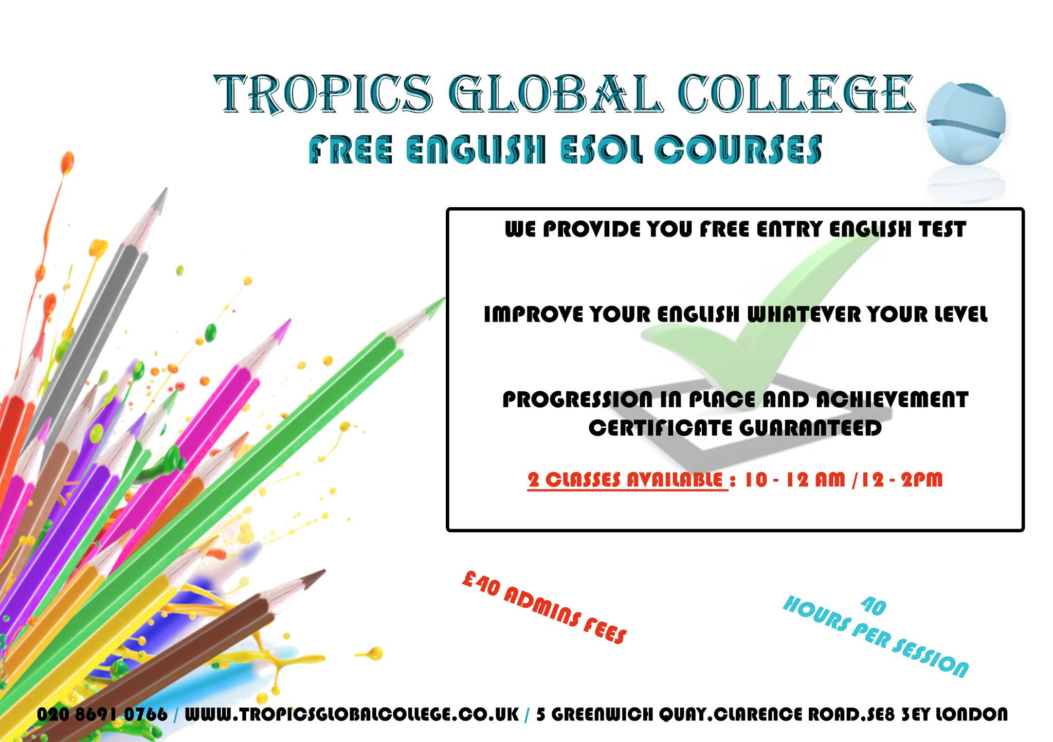 Free English courses for the session of April 2018